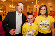 Alan Johnston Eason Marketing manager with  Ethan Roche , Newtown National School, Abbeyknockmoy,  and Elizabeth MacCann Spelling Bee host at the Eason Spelling Bee in the Hotel Meyrick, Galway from where Ryan Tubridy's show was broadcast . Photo:Andrew Downes..