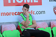 Morecambe player ponders during the EFL Sky Bet League 2 match between Morecambe and Newport County at the Globe Arena, Morecambe, England on 16 September 2017. Photo by Mick Haynes.