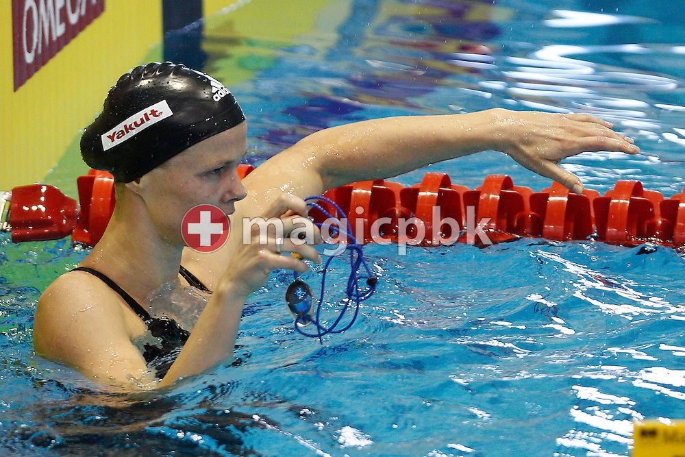 Britta Steffen of Germany takes her goggles off after swimming the first leg in the women's 4x100m Freestyle Relay Heats during the 31st LEN European Swimming Championships in Debrecen, Hungary, Monday, May 21, 2012. (Photo by Patrick B. Kraemer / MAGICPBK)