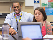 Tristan Love works with teachers to develop lesson plans at Sam Houston MSTC, August 30, 2016.