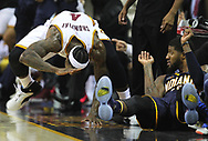 April 17, 2017 - Cleveland, OH, USA - Cleveland Cavaliers guard Iman Shumpert slams his hand on the floor after sliding off the court for possession with Indiana Pacers forward Paul George during the third quarter in Game 2 of an Eastern Conference playoff game on Monday, April 17, 2017, at Quicken Loans Arena in Cleveland, Ohio. The Cleveland Cavaliers beat the Indiana Pacers 117-111. (Credit Image: © Leah Klafczynski/TNS via ZUMA Wire)