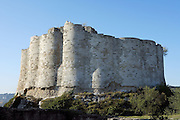 LES ANDELEYS, FRANCE - OCTOBER 10: View of the embossed ramparts, one of the innovations of the Chateau Gaillard, on October 10, 2008 in Les Andelys, Normandy, France. The chateau was built by Richard the Lionheart in 1196, came under French control in 1204 following a siege in 1203. It was later destroyed by Henry IV in 1603 and classified as Monuments Historiques in 1852. (Photo by Manuel Cohen)