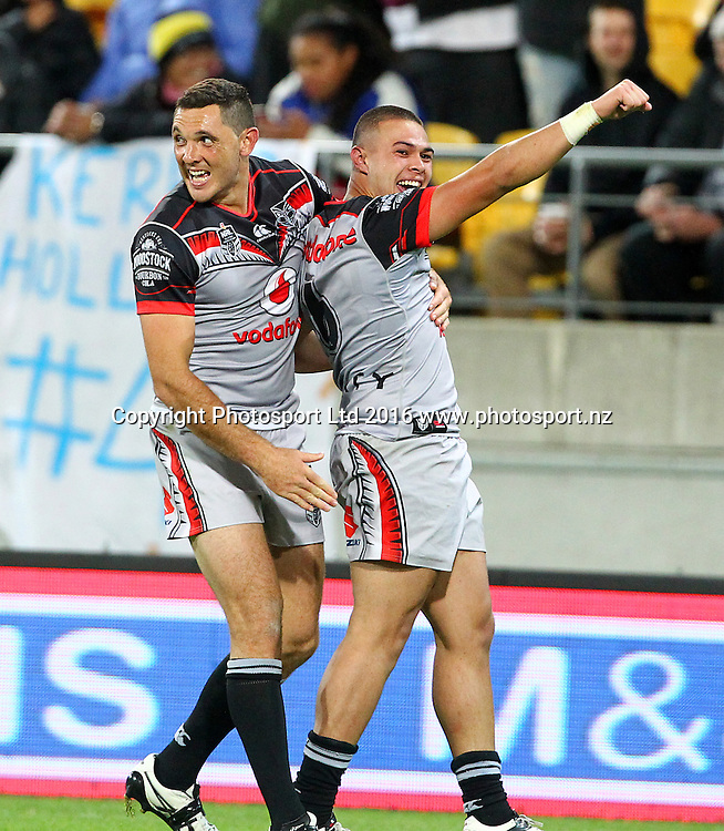 Warriors' Tuimoala Lolohea celebrates his try with Jonathan Wright during the Round 7 NRL match, Canterbury-Bankstown Bulldogs v Vodafone Warriors at Westpac Stadium, Wellington. 16th April 2016. Copyright Photo.: Grant Down / www.photosport.nz