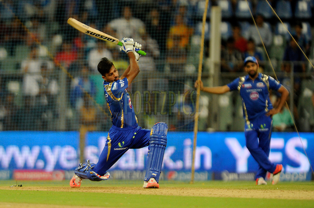 Hardik Pandya of Mumbai Indians bats during the YES BANK Maximum competition after match 46 of the Pepsi IPL 2015 (Indian Premier League) between The Mumbai Indians and The Royal Challengers Bangalore held at the Wankhede Stadium in Mumbai, India on the 10th May 2015.<br /> <br /> Photo by:  Pal Pillai / SPORTZPICS / IPL