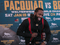 November 20, 2018 - Beverly Hills, California, U.S - Adrien Broner addresses the media along with Manny Pacquiao at a news conference on Tuesday, November 20, 2018, in Beverly Hills, California. Pacquiao will defend his World Boxing Association welterweight title against Broner on January 19, 2019, in Las Vegas. (Credit Image: © Prensa Internacional via ZUMA Wire)