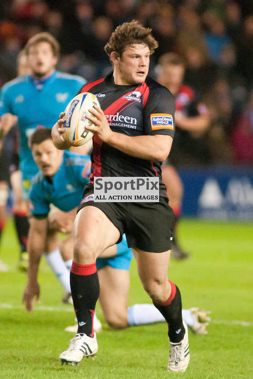 Ross Ford on a burst through the middle,Edinburgh Rugby v Aironi, Rabodirect Pro12