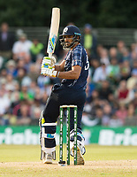 EDINBURGH, SCOTLAND - JUNE 12: Single for Scotland's Safyaan Sharif in the first of 2 Twenty20 Internationals at the Grange Cricket Club on June 12, 2018 in Edinburgh, Scotland. (Photo by MB Media/Getty Images)