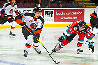 KELOWNA, BC - NOVEMBER 8: Trevor Longo #20 of the Medicine Hat Tigers skates with the puck as Kobe Mohr #25 of the Kelowna Rockets stick checks  at Prospera Place on November 8, 2019 in Kelowna, Canada. (Photo by Marissa Baecker/Shoot the Breeze)