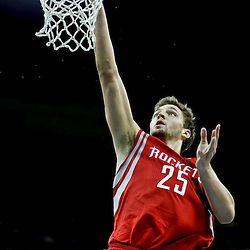 Jan 25, 2013; New Orleans, LA, USA; Houston Rockets small forward Chandler Parsons (25) shoots against the New Orleans Hornets during the second half of a game at the New Orleans Arena. The Rockets defeated the Hornets 100-82. Mandatory Credit: Derick E. Hingle-USA TODAY Sports