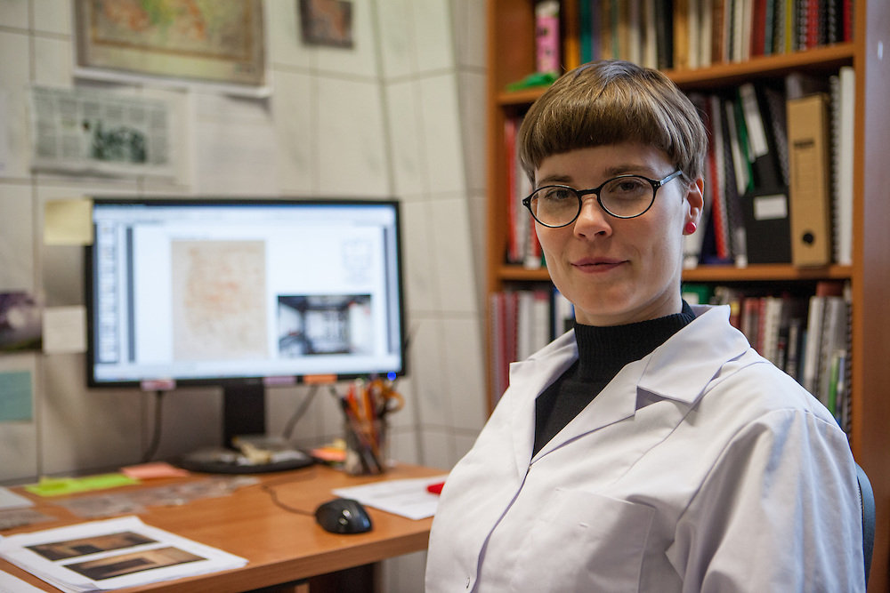 Portrait of German born conservator Margrit Bormann who is working since 5 years at the Auschwitz Museum Preservation lab responsible for the preservation of out-and inside facilities of the camp. The Museum Preservation Department is responsible for protecting everything that remains at the Auschwitz-Birkenau Concentration Camp site.