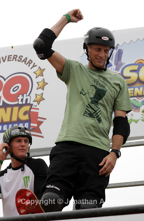 """Tony Hawk competes in the half pipe competition at """"Sonic Generations of Skate"""", on Saturday, October 22, 2011, in Venice Beach, California."""