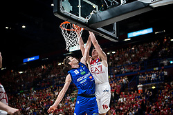 May 26, 2018 - Milan, Milan, Italy - Kaleb Tarczewski (#14 EA7 Emporio Armani Milano) shoots a layup during a basketball game of Poste Mobile Playoff Lega Basket A between  EA7 Emporio Armani Milano vs Germani Basket Brescia at Mediolanum Forum, in Milan, Italy, on 26 May 2018. (Credit Image: © Roberto Finizio/NurPhoto via ZUMA Press)