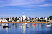 View of harbor and beach with town in the background. Provincetown, Cape Cod, MA