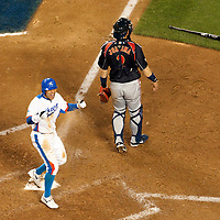 23 March 2009: #50 Hyun Soo Kim of Korea reacts after he ties the score 3-3 in the bottom of the ninth inning during the 2009 World Baseball Classic final game at Dodger Stadium in Los Angeles, California, USA. Japan defeated Korea 5-3.