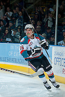 KELOWNA, CANADA -FEBRUARY 5: Kris Schmidli #16 of the Kelowna Rockets celebrates the first goal of the game against the Red Deer Rebels on February 5, 2014 at Prospera Place in Kelowna, British Columbia, Canada.   (Photo by Marissa Baecker/Getty Images)  *** Local Caption *** Kris Schmidli;