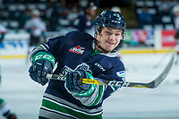 KELOWNA, CANADA - APRIL 25: Zack Andrusiak #20 of the Seattle Thunderbirds warms up with a shot on net against the Kelowna Rockets on April 25, 2017 at Prospera Place in Kelowna, British Columbia, Canada.  (Photo by Marissa Baecker/Shoot the Breeze)  *** Local Caption ***