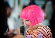 Zandra Rhodes<br /> Designer and Fashion Icon <br /> talking at Pure London, Olympia, London, Great Britain <br /> 20th August 2012 <br /> <br /> <br /> Zandra Rhodes<br /> <br /> Photograph by Elliott Franks