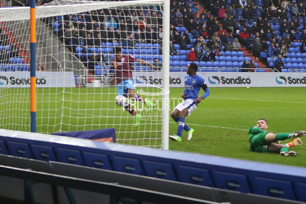 Duane Holmes Scunthorpe Midfielder scores during the EFL Sky Bet League 1 match between Oldham Athletic and Scunthorpe United at Boundary Park, Oldham, England on 28 October 2017. Photo by George Franks.