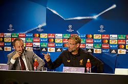 SINSHEIM, GERMANY - Monday, August 14, 2017: Liverpool's manager Jürgen Klopp jokes with a journalist during a press conference ahead of the UEFA Champions League Play-Off 1st Leg match against TSG 1899 Hoffenheim at the Rhein-Neckar-Arena. (Pic by David Rawcliffe/Propaganda)