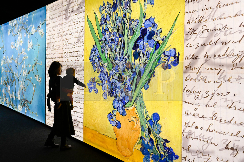 "© Licensed to London News Pictures. 06/02/2020. LONDON, UK. A visitor views the exhibition. Preview of the ""Meet Vincent Van Gogh"" experience on the South Bank.  Created by the Van Gogh Museum in Amsterdam, the touring exhibition recreates Van Gogh's life in an interactive and multisensory experienc.  The show is open to the public 7 February to 21 May 2020.  Photo credit: Stephen Chung/LNP"