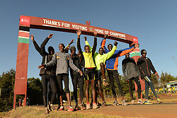 © Licensed to London News Pictures. 02/02/2014. Iten, Kenya. Running in Africa feature. Runners beneath a famous landmark in Iten. Photo credit : Mike King/LNP