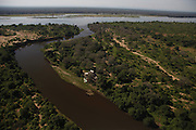 Aerial view over the Lower Zambezi National park and Zambezi river. Chongwe River House.Lower Zambezi National Park, Zambia, Africa..