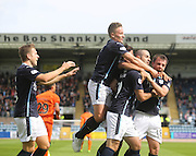 Dundee's Gary Harkins is congratulated after scoring by Greg Stewart, Simon Ferry, Paul McGowan and Luka Tankulic - Dundee v Kilmarnock - SPFL Premiership at Dens Park<br /> <br />  - &copy; David Young - www.davidyoungphoto.co.uk - email: davidyoungphoto@gmail.com