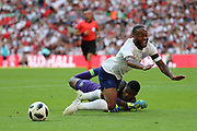 England Raheem Sterling (10) going down trying to win a penalty and receives a yellow card during the Friendly International match between England and Nigeria at Wembley Stadium, London, England on 2 June 2018. Picture by Matthew Redman.