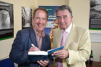 """Robert J Savage, the author of """"The BBC's Irish Troubles"""" with former BBC executive, Robin Walsh at the launch of his book in Belfast, N Ireland, 4th June 2014. Walsh was BBC N Ireland news editor during the 70s going on to became Editor of the Network Nine O'Clock News and later Controller NI. Savage, the author of a number of Irish-themed publications, is Professor of the Practice of History  at Boston College, Massachusetts, USA. 201506043898<br /> <br /> Copyright Image from Victor Patterson, 54 Dorchester Park, Belfast, UK, BT9 6RJ<br /> <br /> t1: +44 28 9066 1296<br /> t2: +44 28 9002 2446<br /> m: +44 7802 353836<br /> <br /> e1: victorpatterson@me.com<br /> e2: victorpatterson@gmail.com<br /> <br /> IMPORTANT: My Terms and Conditions of Business are at www.victorpatterson.com"""