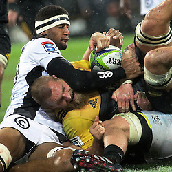 Brad Shields scores during the Super Rugby quarterfinal match between the Hurricanes and Sharks at Westpac Stadium, Wellington, New Zealand on Saturday, 23 July 2016. Photo: Peter Bush / lintottphoto.co.nz