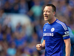 LONDON, ENGLAND - Sunday, May 3, 2015: Chelsea's captain John Terry celebrates winning the Premier League title after a 1-0 victory over Crystal Palace during the Premier League match at Stamford Bridge. (Pic by David Rawcliffe/Propaganda)