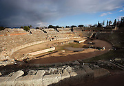 Roman Amphitheatre, dated 8 BC, with a capacity of 15?000 spectators to enjoy the gladiators? games, fights between animals and between human and animals, Merida (Augusta Emerita, Capital of Hispania Ulterior), Extremadura, Spain
