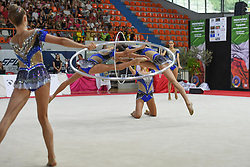 July 28, 2018 - Chieti, Abruzzo, Italy - Rhythmic gymnastics team of Italy performs its 5 hoops routine during the Rhythmic Gymnastics pre World Championship Italy-Ukraine-Germany at Palatricalle on 29th of July 2018 in Chieti Italy. (Credit Image: © Franco Romano/NurPhoto via ZUMA Press)