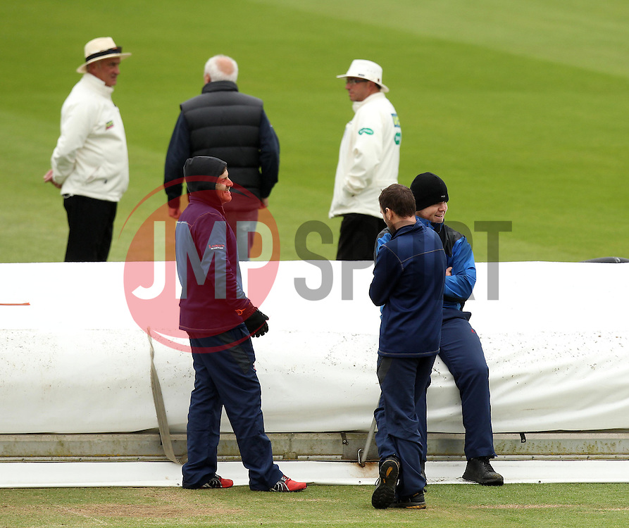 Ground staff and umpires wait for the improving light before starting play on Day Two - Photo mandatory by-line: Robbie Stephenson/JMP - Mobile: 07966 386802 - 03/05/2015 - SPORT - Football - London - Lords  - Middlesex CCC v Durham CCC - County Championship Division One