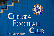 Chelsea Football Club Shed End signage at Stamford Bridge ahead of the Premier League match between Chelsea and West Ham United at Stamford Bridge, London, England on 8 April 2019.