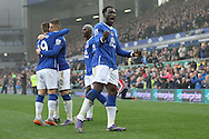 Romelu Lukaku of Everton celebrates scoring the fourth goal against Sunderland during the Barclays Premier League match at Goodison Park, Liverpool.<br /> Picture by Michael Sedgwick/Focus Images Ltd +44 7900 363072<br /> 01/11/2015