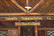 Yosemite Transportation Company and Wells Fargo Express office at the Pioneer Yosemite History Center in Wawona, Yosemite National Park (World Heritage Site), California