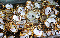 © Licensed to London News Pictures. 04/10/2015. London, UK. Key rings from Jack the Ripper Museum are displayed for sale.  A planned protest was cancelled at the museum today. Photo credit: Peter Macdiarmid/LNP
