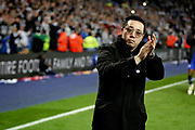 Leicester City vice chairman Aiyawatt Srivaddhanaprabha thanking the fans after  after the Premier League match between Leicester City and Burnley at the King Power Stadium, Leicester, England on 10 November 2018.
