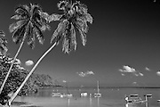 A black and white image of Kaneohe Bay in Hawaii.