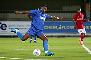 AFC Wimbledon attacker Michael Folivi (17) with a shot on goal during the Pre-Season Friendly match between AFC Wimbledon and Bristol City at the Cherry Red Records Stadium, Kingston, England on 9 July 2019.