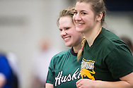Windsor, Ontario ---2015-03-12--- Olena Olenick of Saskatchewan celebrates her silver medal in the weight throw at the 2015 CIS Track and Field Championships in Windsor, Ontario, March 12, 2015.<br /> GEOFF ROBINS/ Mundo Sport Images