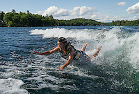 Wake surfing fun on Lake Winnisquam.   (Karen Bobotas/for the Laconia Daily Sun)