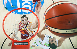 Stojan Gjuroski of Macedonia vs Jure Balazic of Slovenia during basketball match between Slovenia and Macedonia at Day 6 in Group C of FIBA Europe Eurobasket 2015, on September 10, 2015, in Arena Zagreb, Croatia. Photo by Vid Ponikvar / Sportida