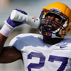 Aug 8, 2013; Baton Rouge, LA, USA;LSU Tigers running back Kenny Hilliard (27) during a fall practice at the McClendon Practice Facility. Mandatory Credit: Derick E. Hingle-USA TODAY Sports