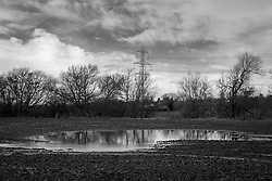 Flooded field, Rothley, Leicestershire, England.<br />