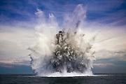 The Dutch NATO mine hunter HMSLN Makkum brings an old second world war bomb to explode near Hoek van Holland, The Netherlands op May 19, 2009. (photo by Michel de Groot)