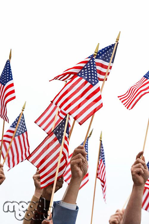 People Waving American Flags