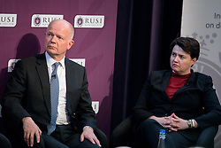 © Licensed to London News Pictures. 19/04/2017. London, UK. Lord William Hague of Richmond, (Former Foreign Secretary and Chairman of RUSI) and Ruth Davidson MSP, Leader of the Scottish Conservative Party at The Royal United Services Institute (RUSI) panel discussion on aid, security and broader British national interests. Photo credit : Tom Nicholson/LNP
