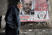 Manifesti del partito di destra Casapound sui muri della capitale per la campagna elettorale in vista delle elezioni politiche nazionali. Roma - 30 gennaio 2013. Matteo Ciambelli / OneShot